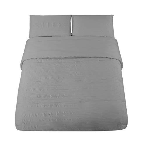 (HONEYMOON HOME FASHIONS Seersucker Queen Comforter Set Bedding 3PC, Light Grey)