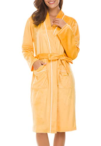 Invug Women Kimono Bathrobe Soft Flannel Sleepwear Fleece Spa Robes with Pockets Light Orange S