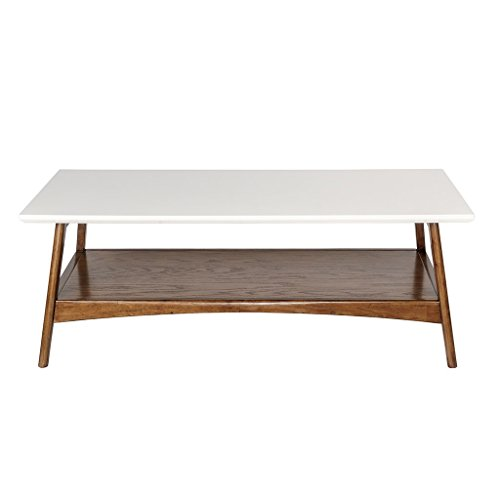 Danish Modern Coffee Table - ModHaus Living Mid Century Modern Coffee Table in White and Pecan Wood Finish