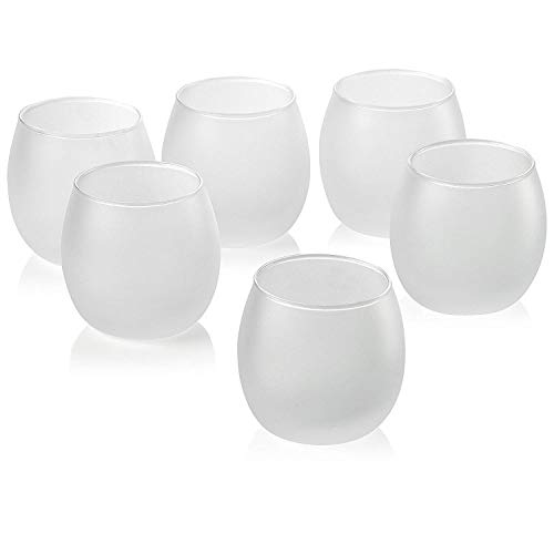 Light In The Dark Clear Glass Votive Candle Holders Set of 12 (White Frosted Hurricane)
