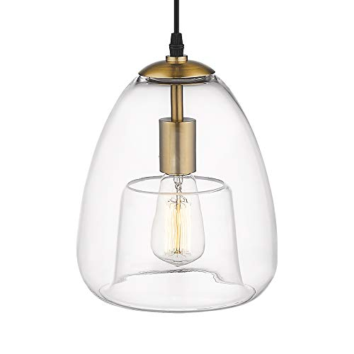 - Emliviar Modern Pendant Light, 1 Light Hanging Light Fixture, Antique Brass Finish with Clear Glass Shade, 2085 M1L