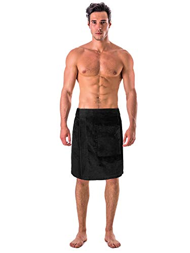 (Turkish Linen Men's Velour Cotton Terry Shower and Bath Towel Wrap (One Size) (Black))