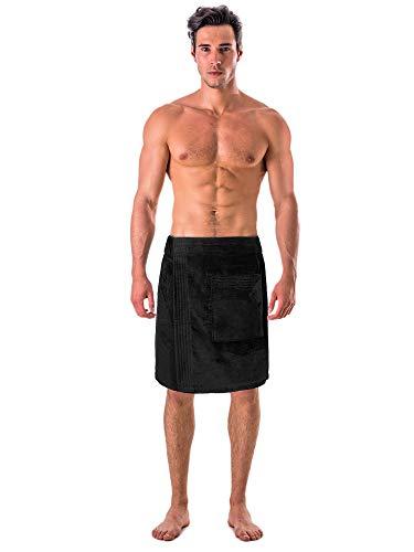 - Turkish Linen Men's Velour Cotton Terry Shower and Bath Towel Wrap (One Size) (Black)
