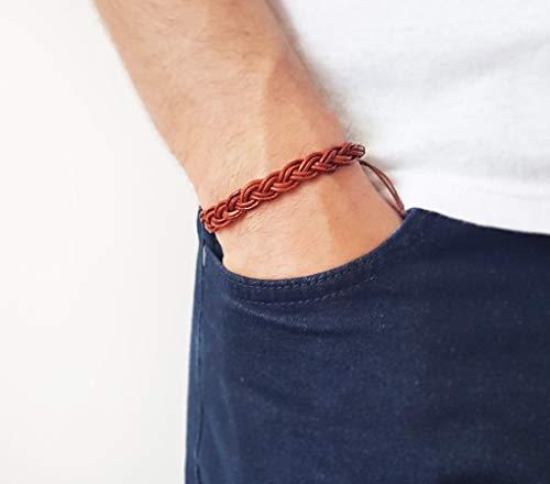 Men's Celtic braid bracelet - Men's braid bracelet Men's leather bracelet ()