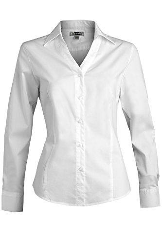 Ed Garments Women's Long Sleeve V-Neck Tailored Stretch Blouse, White, (Women French Cuff Shirt)