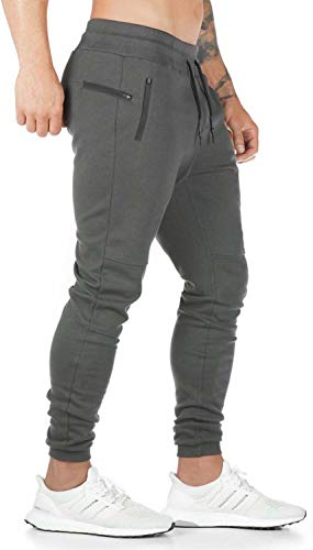 Furpazven Mens Joggers Slim Fit Sweatpants Running Pants Zip Pockets Bottoms Gym Jogging Tracksuit Trousers