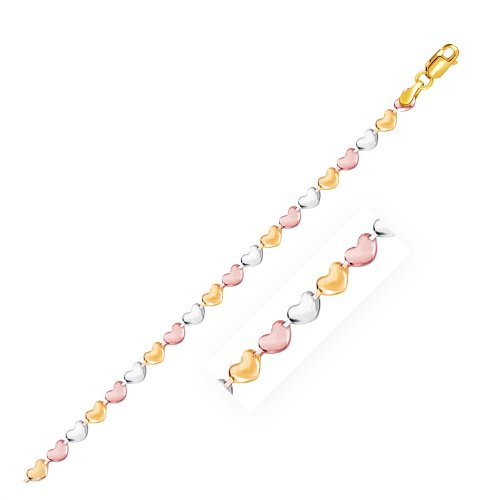 14K Tri-Color Gold Anklet with Heart Style Links by Jewels By Lux