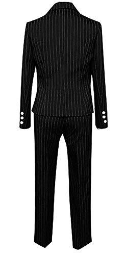 LYLAS Men's Black Pinstripe Suit School Uniform Full Sets Cosplay Costume (Male-S)