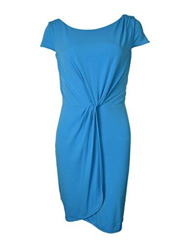 - BAR III Women's Cap Sleeve Drape Matte Jersey Mini Dress, Blue Danube (L)