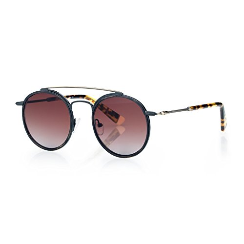 Round Fashion Sunglasses for Unisex, Double Bridge Glasses Metal Frame,,FDA Standard - Double Bridge