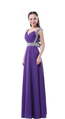 Purple ed da da cerimonie per lungo chiffon Balllily eleganti eventi sera donna abito in vaqBwSxO