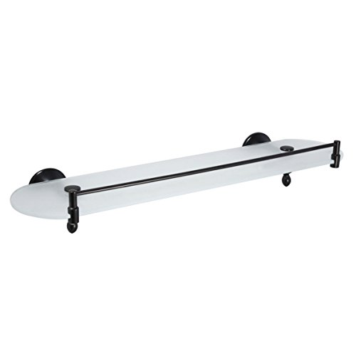"MODONA 20"" Frosted Glass Shelf with Rail - Rubbed Bronze - Antica Series - 5 Year Warrantee"