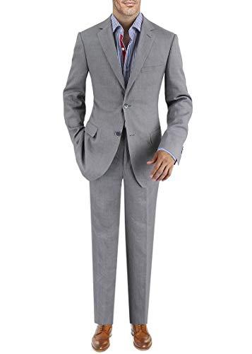 (DTI BB Signature Italian Men's Linen Suit Modern Fit 2 Button Jacket Plain Pant (40 Short US / 50S EU/W 34