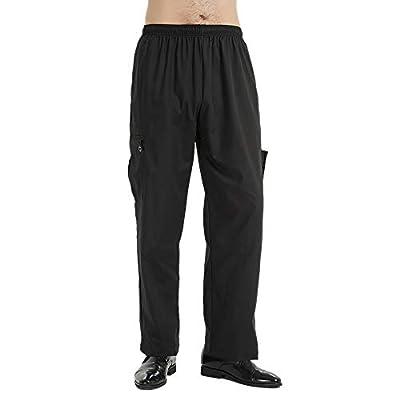 TOPTIE Black Chef Pants with Elastic Waist Drawstring