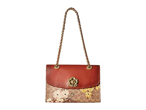 COACH Women's Prairie Coated Canvas Signature Parker Shoulder Bag Tan/Rust Bow/Brass One Size