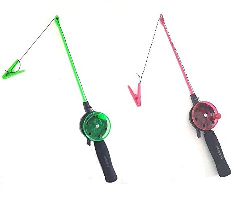 Childs / Kids Crab Fishing Rod and Reel. Great Holiday Fun Set (Green)