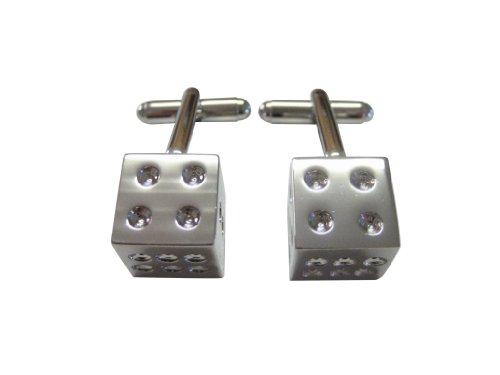 Dice Silver Cufflinks - Silver Toned Dice Cufflinks