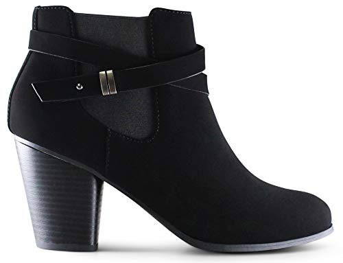 Marco Republic Montreal Women's Almond Toe High Chunky Block Stacked Heels Ankle Booties Boots