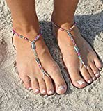 SunSandals Barefoot Sandals Foot Ankle Jewelry Anklets - Disco - Medium