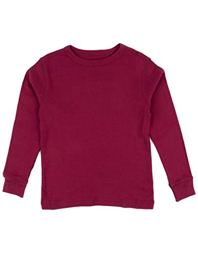 Leveret Long Sleeve Solid T-Shirt 100% Cotton (10 Years, Burgundy)