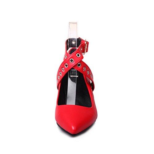 Women primavera Shoes European American Low verano y Zapatos RFF Code and de otoño Tacón Shoes Zapatos de and High Red Big Pointed qFxzER6