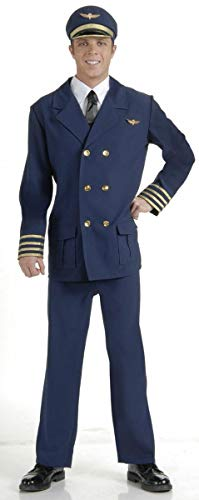 Forum Novelties Men's Airline Pilot Costume, Blue/Gold, Standard -