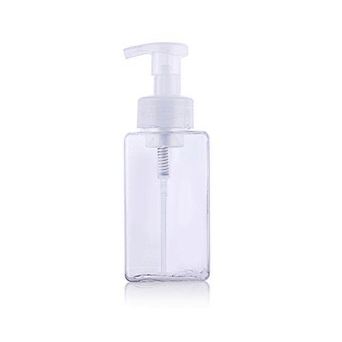 erioctry 450ml(15oz) Square Foaming Dispenser Cosmetics Empty Bottle Facial Cleanser Liquid Foaming Containers Mousses Bottles for Castile Liquid Soap (Transparent)