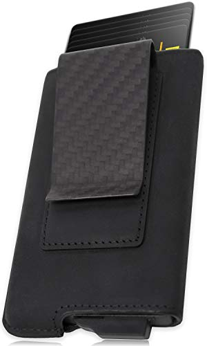 FIDELO Minimalist Wallet for Men - Slim Credit Card Holder RFID Mens Wallets and Leather ()