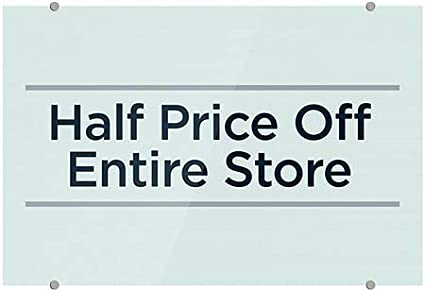 5-Pack Basic Teal Premium Acrylic Sign Half Price Off Entire Store CGSignLab 18x12