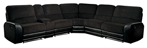 Homelegance Ynez Recliner Sectional Sofa Leather Gel Matched Fabric Cover with Cup holders Storage Console, Chocolate - Chocolate Leather Sectional Sofa