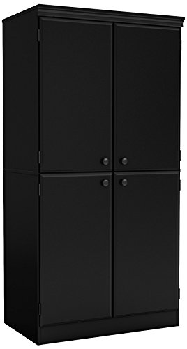 South Shore Tall 4-Door Storage Cabinet with Adjustable Shelves, Pure Black (Doors For Wooden Bedrooms)