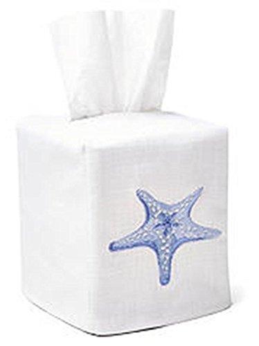 - Jacaranda Living Linen/Cotton Tissue Box Cover, Morning Starfish, Blue