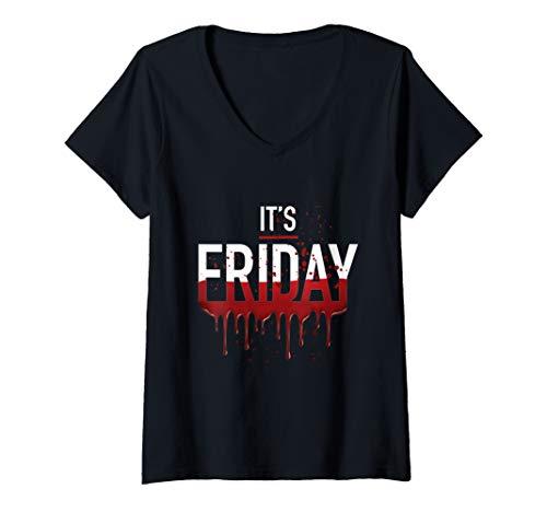 Womens It's Friday Funny Horror Halloween Gifts Costume Idea V-Neck ()