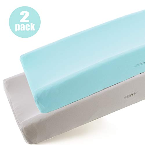 COSMOPLUS Knitted Changing Pad Cover -2 Pack Stretchy Changing Pad Covers for Boys Girls,Universal Knit Fitted for Standard Baby Changing Pad,Gray Teal