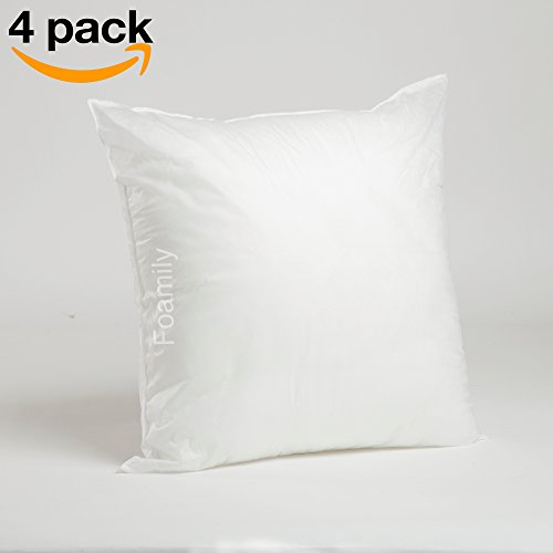Foamily Set of 4 Premium Hypoallergenic Stuffer Pillow Insert Sham Square Form Polyester, 20