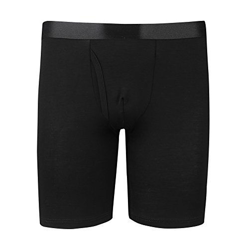 Men's Modal Underwear Long Leg Boxer Brief/Black/L (36