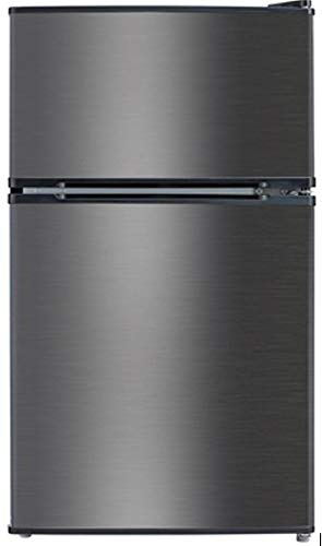 2 Door Mini Fridge Refrigerator in Black Stainless
