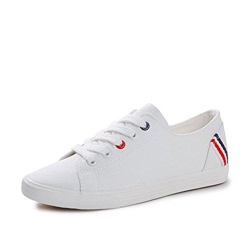 Scarpe di Fondo Espadrillas Pizzo Scarpe Piatto Bianche White Scarpe Piccole Studenti Sportive da Ginnastica Koyi Ginnastica da Donna per con 8TFaqgY
