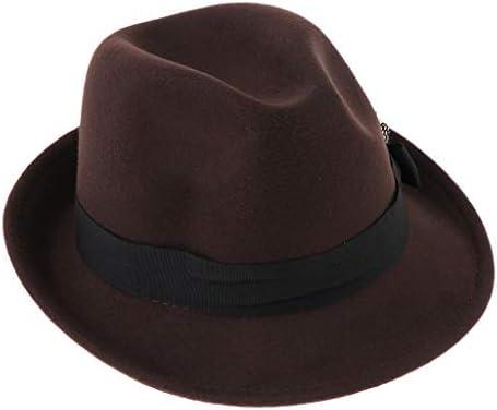 P Prettyia メンズ 帽子 ハット 紳士帽 中折れ帽 中折ハット ちょう結び 羽飾り 無地 秋冬 カジュアル