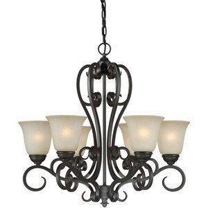 06-64 6-Light Traditional Chandelier, Bordeaux Finish with Umber Mist Glass (Forte Glass Lighting)