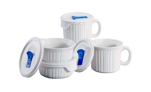 Corningware French White Mug, Soup Bowls and Lids, 8 Pieces