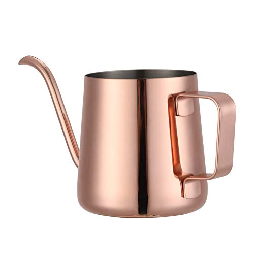 Long Narrow Spout Coffee Pot, Coffee Pour Over Kettle with Food Grade Material, Pouring over Gooseneck Kettle for Hanging Ear Coffee Bag and Tea, Rose Gold, 12 Oz - Pot Goose