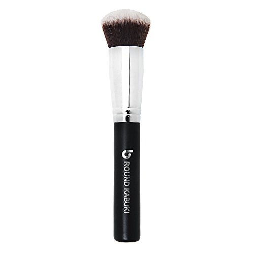 Mineral Powder Foundation Makeup Brush - Large Dense Round Kabuki Face Brush for Setting, Loose, Finishing, Pressed, Compact Powder Make Up Cosmetics, Synthetic, Brochas de Maquillaje Profesional