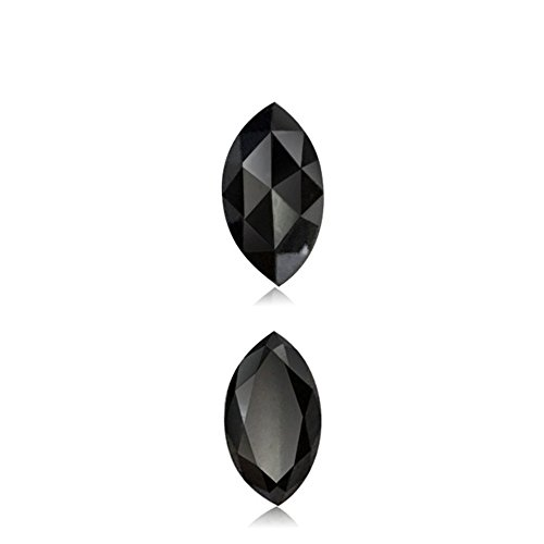 Mysticdrop 0.44 Cts of 6.60x3.69x2.25 mm AA Marquise Rose Cut (1 pc) Loose Treated Fancy Black Diamond - (Diamond Appraisal Included)
