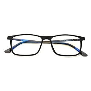 TR90 With Flexible Titanium B Temple Rectangle Reading Glasses - Blue AR Coating - Reduce fatigue, strain, & dry eye from computer usage. (Matte Black, 1.50)