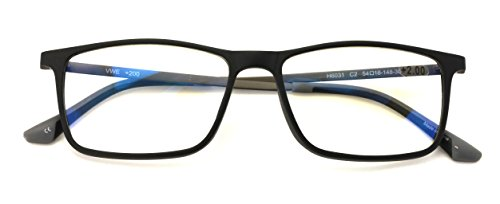 TR90 With Flexible Titanium B Temple Rectangle Reading Glasses - Blue AR Coating - Reduce fatigue, strain, & dry eye from computer usage. (Matte Black, - Titanium Glasses