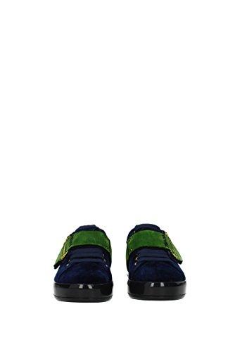 Prada Blau Damen Sneakers 1E983H Samt EU wOB0wqg