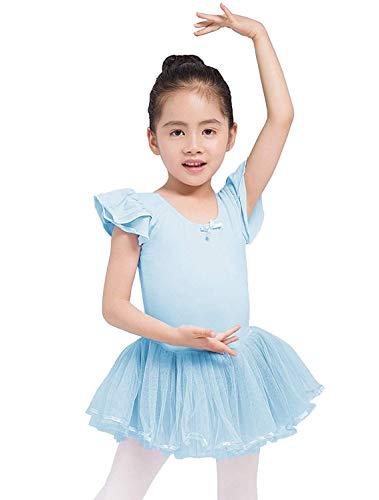 Dancina Toddler Ballet Leotard Dress Petal Sleeve Full Front Lining 2-3T Light Blue]()