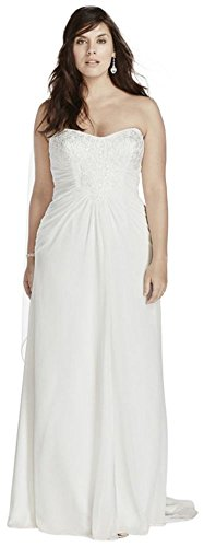 Bridal Wedding AI13340010 Strapless Dress Plus Soft Size Sample Crinkle Chiffon David's Style White qw0xC6qd
