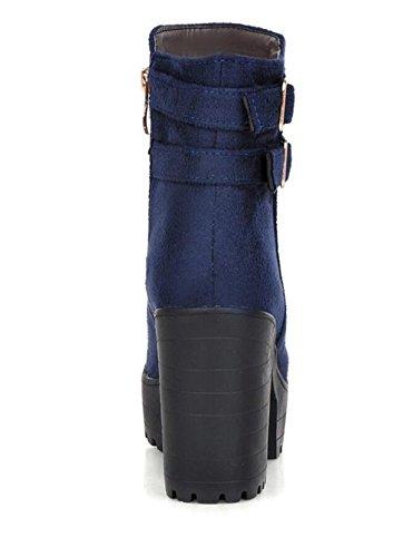 Rundkopfpumpen Gürtelschnalle LINYI Blau Damenstiefel Fashion High Heels Seitlicher Reißverschluss AC0C1wq